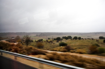 En route to Madrid through the desert of central Spain