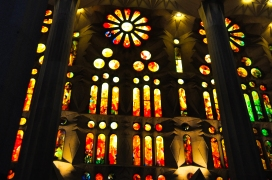 Stain glass windows. Feels like hellfire in a holy building