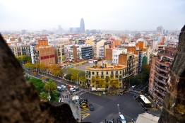 On a spire looking at the Torre Agbar, the other phallic building in Barcelona