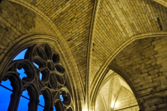Gothic Details. Pointed arches, rose windows, cross vaulting.